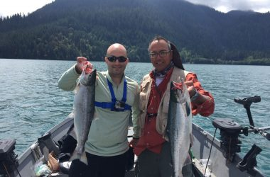 Two sockeye salmon after landing a double